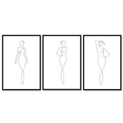 패브릭 포스터 드로잉 인테리어 액자 여인 3개 세트