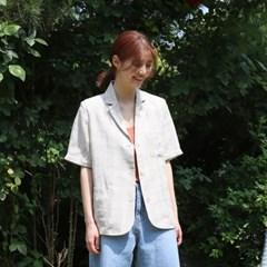 Linen check half jacket