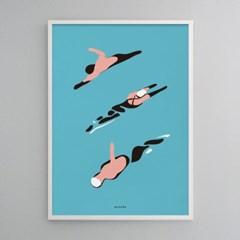 유니크 인테리어 디자인 포스터 M 수영