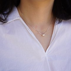 silver cylinder necklace