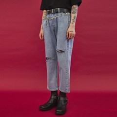ripped knee denim pants - UNISEX_(978638)