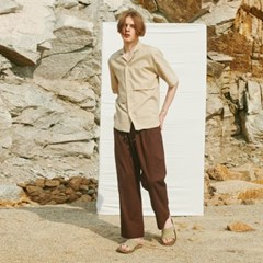 VACATIONER LINEN WASHING WIDE PANTS BROWN