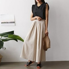 Linen Super Wide Pants - 치마바지