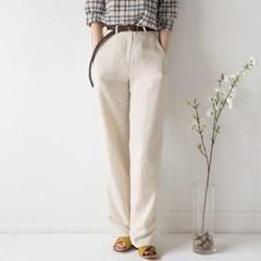 high waist linen banding slacks