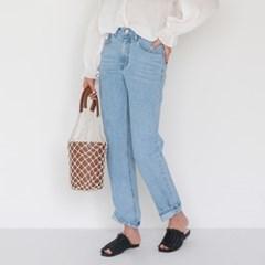 straight line denim pants