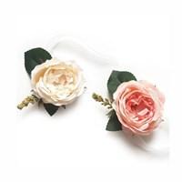 [브라이덜샤워 꽃팔찌] 쥴리아 꽃팔찌 (연핑크/화이트)