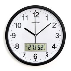 무소음온습도벽시계350_블랙