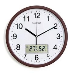 무소음온습도벽시계350_브라운