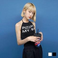 2182 피자 홀터넥 슬리브리스 (2colors)