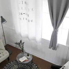 BHF 앨리스레터링+솔리드 창문 암막커튼2장