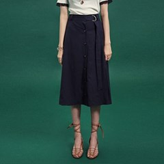 BELT SET-UP FLARE LONG SKIRT_NAVY