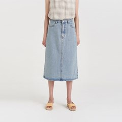 washing denim midi skirt