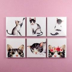 감성 고양이 메모 홀더 냉장고 자석 6종