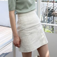 Slit linen mini skirt