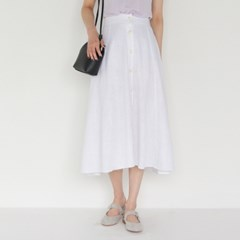 romantic mood banding flare long skirt