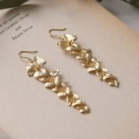 gold layered flower earrings