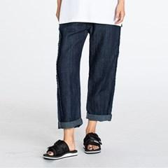 LINEN DENIM BOYFIT WIDE PANTS BLUE