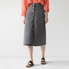 retro slit detail denim long skirt