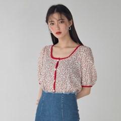 square neck flower printing blouse
