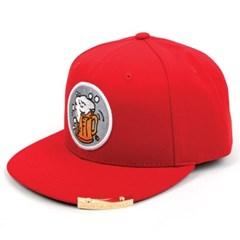 Beer or Die Snapback Cap(Red/White) 도그스냅백