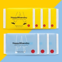 해피문데이 유기농 생리대 - 중대형 2달 패키지 (중형 4팩+대형 3팩)