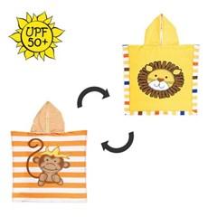 플랩잭 UPF50+ 자외선차단 후드 양면비치가운-사자&원숭이