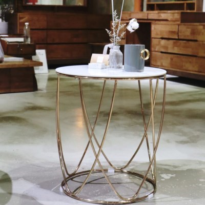 화이트마블 세라믹 원형 2인 티 테이블(2color)