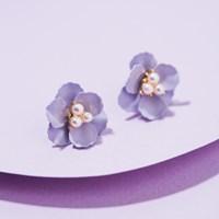 진주 퍼플 꽃 귀걸이
