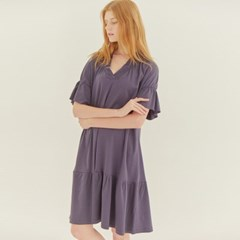 FRILL JERSEY DRESS (DARK NAVY)