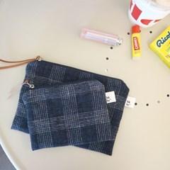 linen check pouch _ 2 size