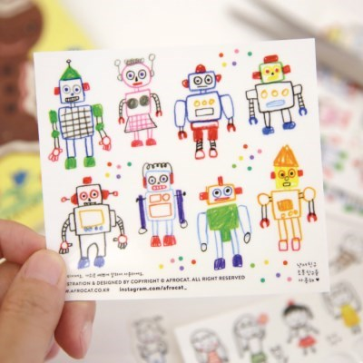afrocat factory sticker.2_낙서친구 로봇