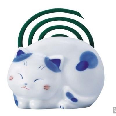파란무늬 고양이 모기향 받침-T473