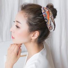 에스닉 페이즐리 쉬폰 리본 머리끈