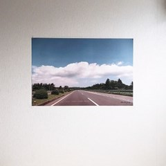 필름사진 포스터 구름+도로