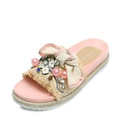 kami et muse  Various beads & ribbon espadrille slippers_KM18s36