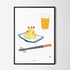 유니크 일본 인테리어 디자인 포스터 M 덴뿌라와 맥주 일본소품