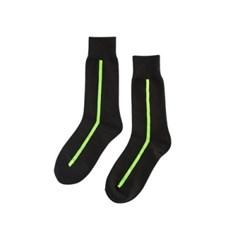 UNISEX Side Line Socks aaa078u(Black / neon)_(902560167)