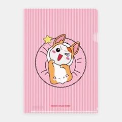 에비츄 L홀더 파일 A4_웰시코기 핑크