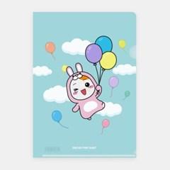 에비츄 L홀더 파일 A4_핑크래빗 풍선