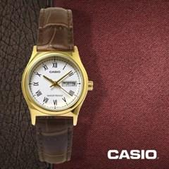 카시오 CASIO LTP-V006GL-7B 여성용 가죽밴드 아날로그시계