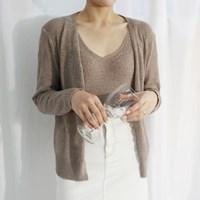 Simple knit set cardigan