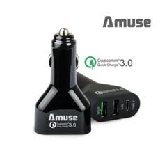 어뮤즈 3포트 퀵차지3.0 USB-C타입 차량용 충전기 NCG-03