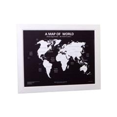 우드 프레임 벽장식 인테리어 세계지도-화이트