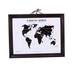 우드 프레임 벽장식 인테리어 세계지도-블랙
