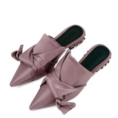 kami et muse Tied over ribbon satin slippers_KM18w025