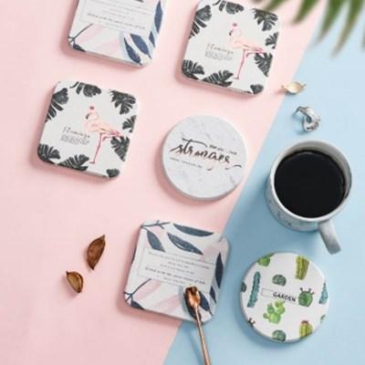 친환경 규조토 디자인 컵받침 코스터 (4type)