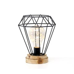 LED 철제 라인 우드등 - 다이아몬드