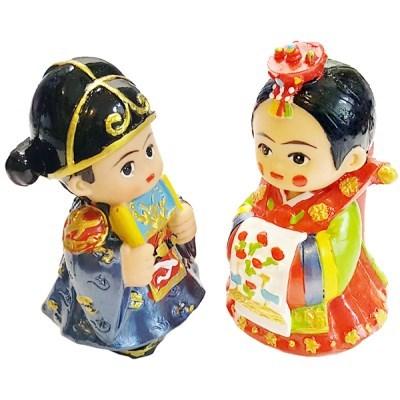 한국 전통웨딩커플 신랑신부 미니 장식인형