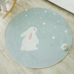 민트땡땡이 토끼 원형 러그_(1024077)