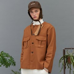 no collar half coat (brown)
